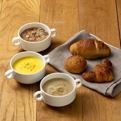 忙しい朝も美味しい時間に変わる!/パンデュース 3種の全粒粉パン&野菜スープのセット(冷凍、各1個)